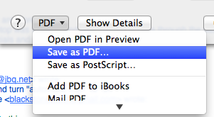 Print/pdf/Save as Pdf - Mac