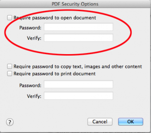 Set password for pdf