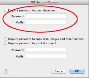 Set password for pdf