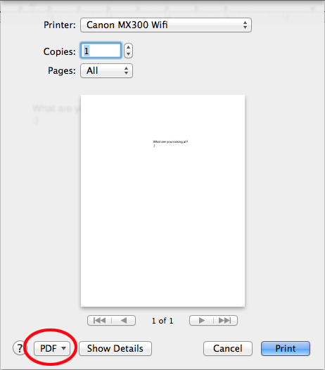 Print Dialog - Mac