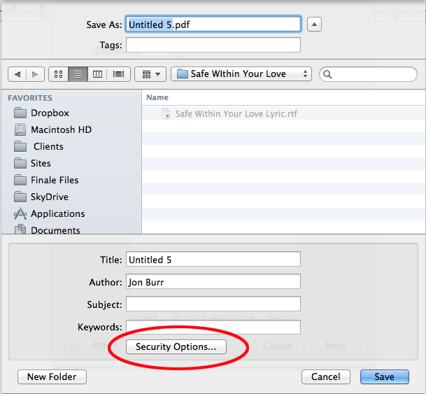 Security Options for pdf - Mac