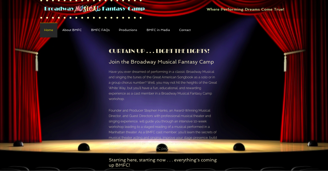 Broadway Musical Fantasy Camp Website screen shot