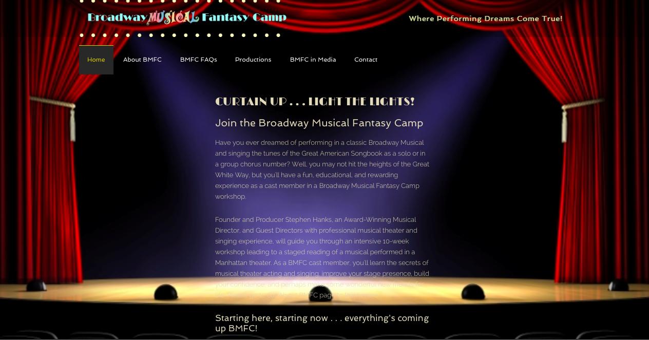 Broadway Musical Fantasy Camp Website screen shot