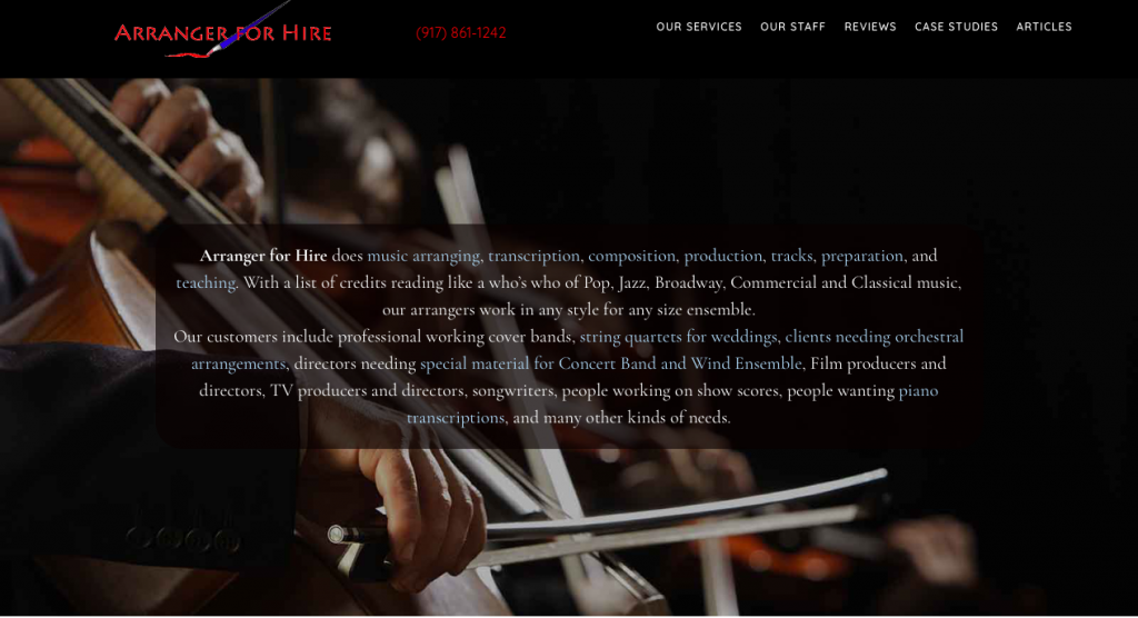 Arranger for Hire.com Screen Grab