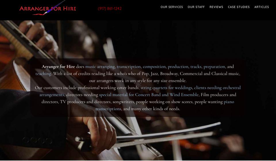 Arranger for Hire.com Screen Grab