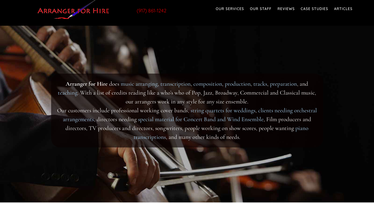 Arranger for Hire Website