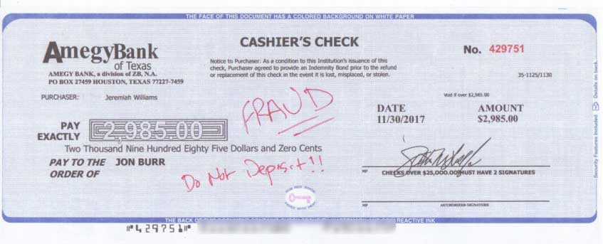 LBS Markets Fake Cashiers Check