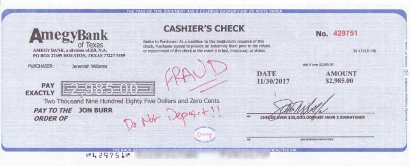 LBS Markets Fake Cashiers Check